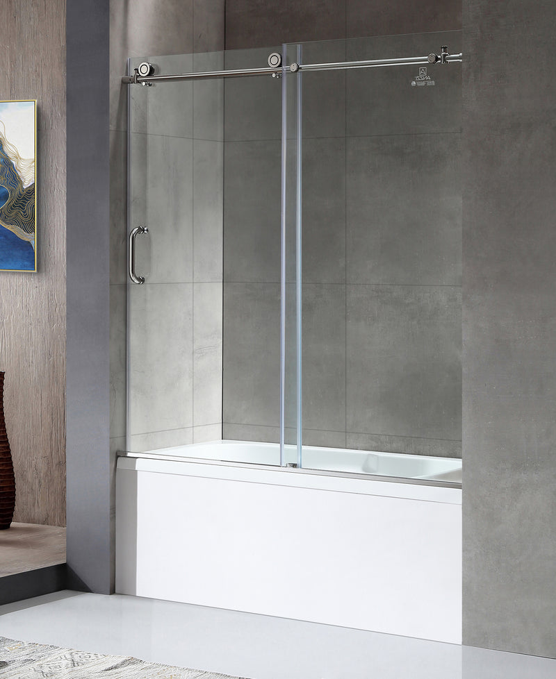 "Anzzi Don Series 59"" x 62"" Frameless Sliding Tub Door in Polished Chrome"
