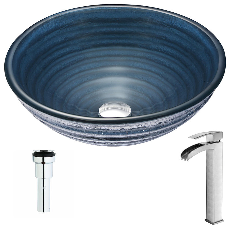 Anzzi Tempo Series Deco-Glass Vessel Sink in Coiled Blue with Key Faucet in Polished Chrome