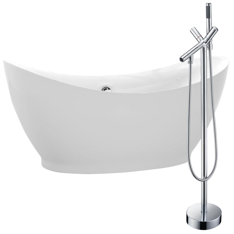 "Anzzi Reginald 68"" Acrylic Soaking Bathtub in White with Havasu Faucet in Polished Chrome"