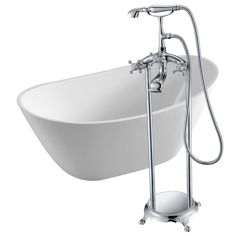 "Anzzi Cross 67"" Acrylic Flatbottom Non-Whirlpool Bathtub in White with Tugela Faucet in Polished Chrome"