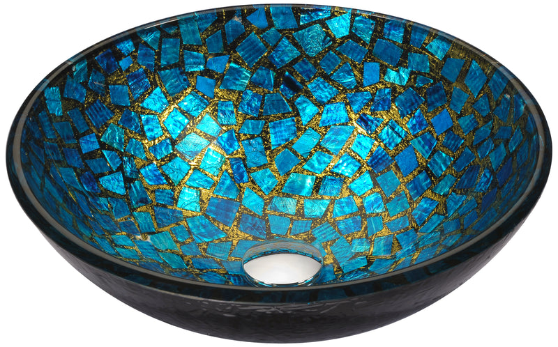 Anzzi Mosaic Series Vessel Sink in Blue/Gold Mosaic
