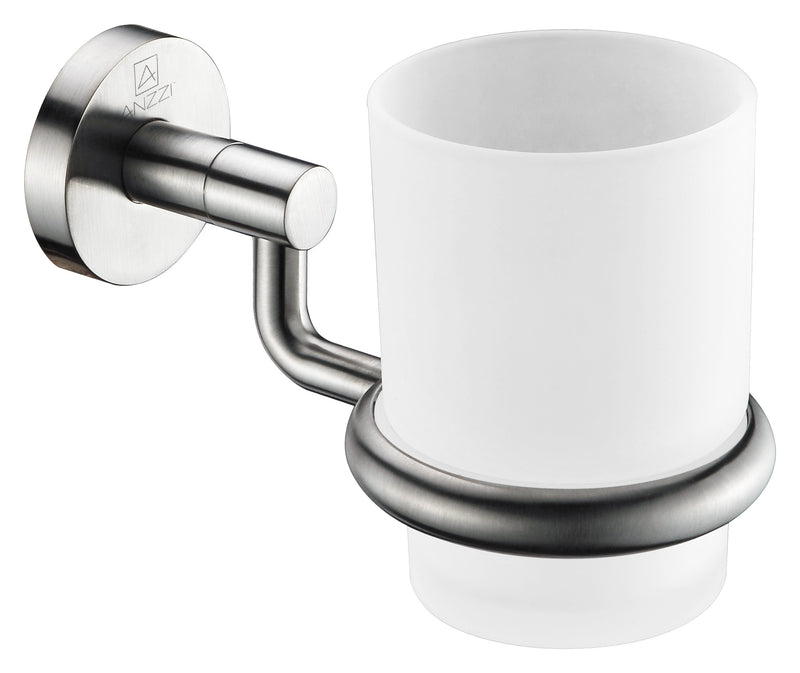 "Anzzi Caster Series 7"" Toothbrush Holder in Brushed Nickel"