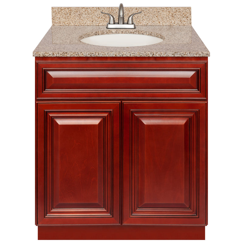 "Cherry Bathroom Vanity 30"", Wheat Granite Top, Faucet LB5B WH314-30CH-5B"