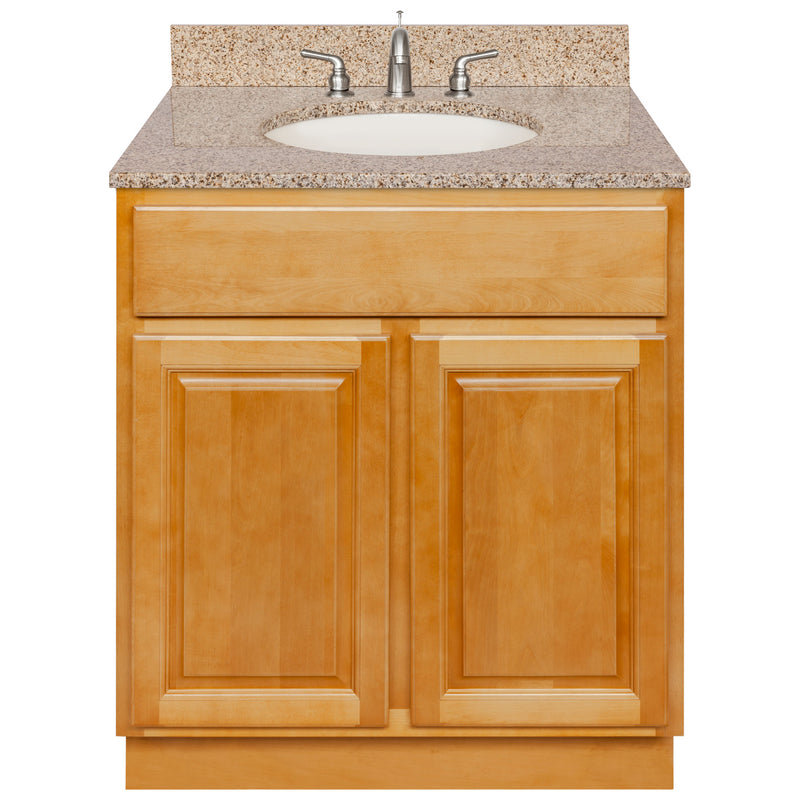 "Brown Bathroom Vanity 30"", Wheat Granite Top, Faucet LB4B WH318-30RC-4B"