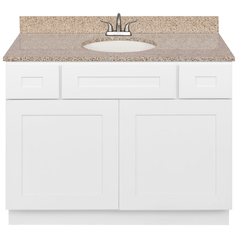 "White Bathroom Vanity 42"", Wheat Granite Top, Faucet LB5B WH434-42AW-5B"