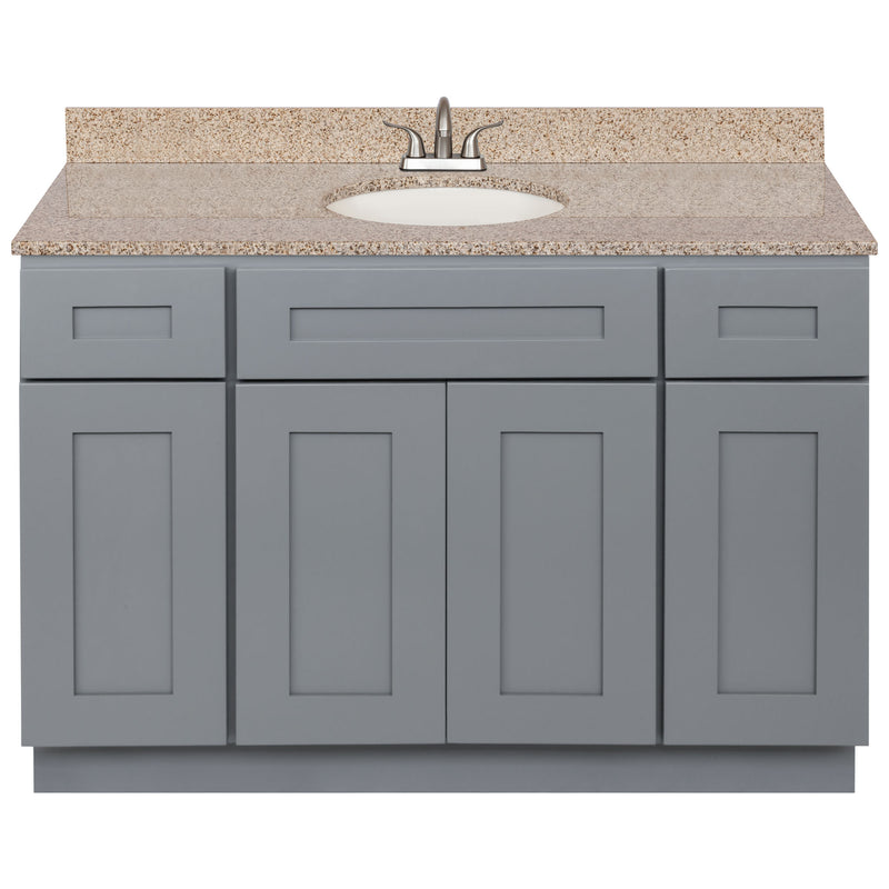 "Cherry Bathroom Vanity 48"", Wheat Granite Top, Faucet LB5B WH494-48CG-5B"