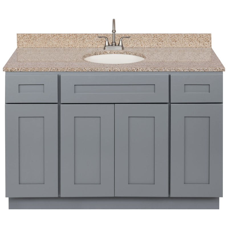 "Cherry Bathroom Vanity 48"", Wheat Granite Top, Faucet LB6B WH494-48CG-6B"