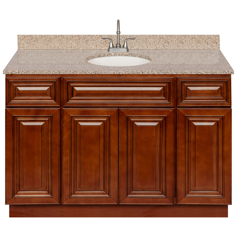 "Brown Bathroom Vanity 48"", Wheat Granite Top, Faucet LB6B WH494-48GN-6B"