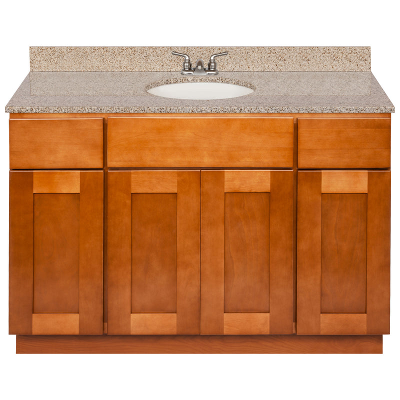 "Brown Bathroom Vanity 48"", Wheat Granite Top, Faucet LB3B WH494-48NP-3B"