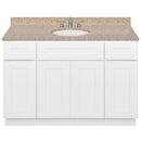 "White Bathroom Vanity 48"", Wheat Granite Top, Faucet LB7B WH498-48AW-7B"