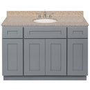 "Cherry Bathroom Vanity 48"", Wheat Granite Top, Faucet LB4B WH498-48CG-4B"