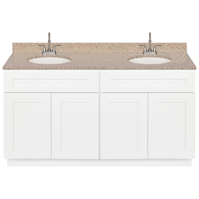 "White Double Bathroom Vanity 60"", Wheat Granite Top, Faucet LB6B WH614-60AW-6B"