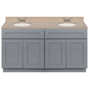 "Cherry Double Bathroom Vanity 60"", Wheat Granite Top, Faucet LB3B WH614-60CG-3B"