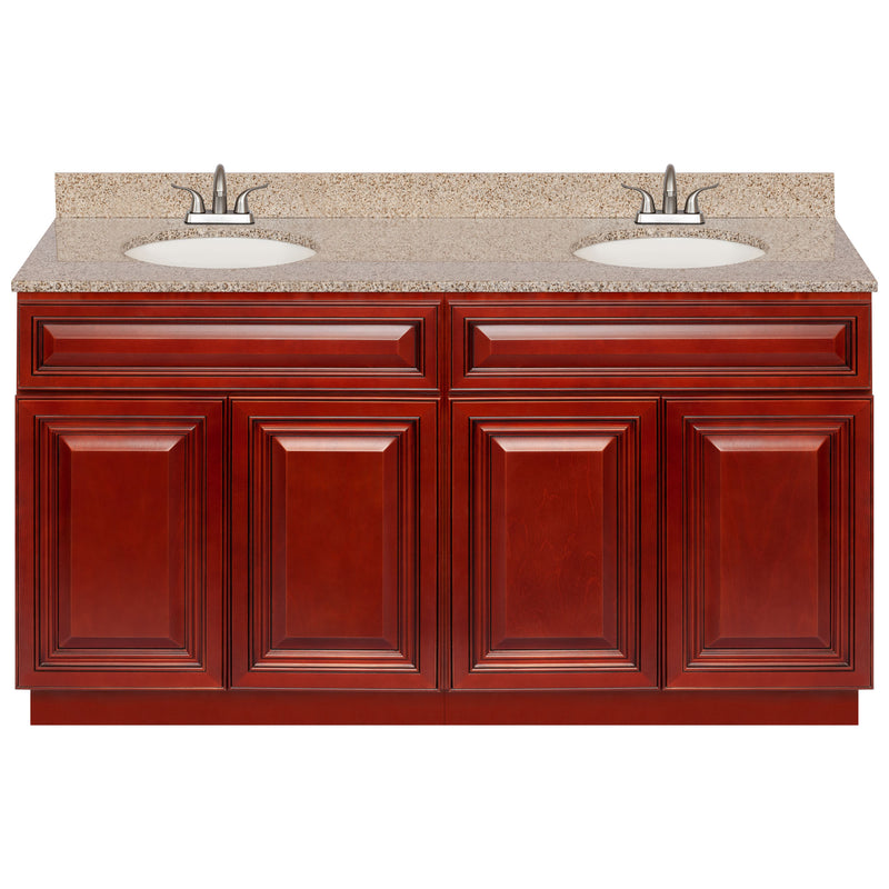 "Cherry Double Bathroom Vanity 60"", Wheat Granite Top, Faucet LB5B WH614-60CH-5B"