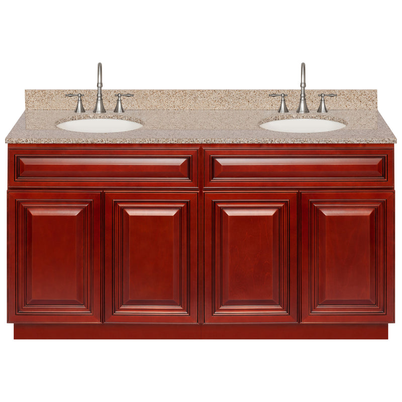"Cherry Double Bathroom Vanity 60"", Wheat Granite Top, Faucet LB7B WH618-60CH-7B"