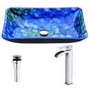 Anzzi Voce Series Deco-Glass Vessel Sink in Lustrous Blue with Key Faucet in Polished Chrome