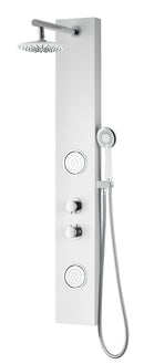 "Anzzi Aquifer Series 56"" Full Body Shower Panel System with Heavy Rain Shower and Spray Wand in White"