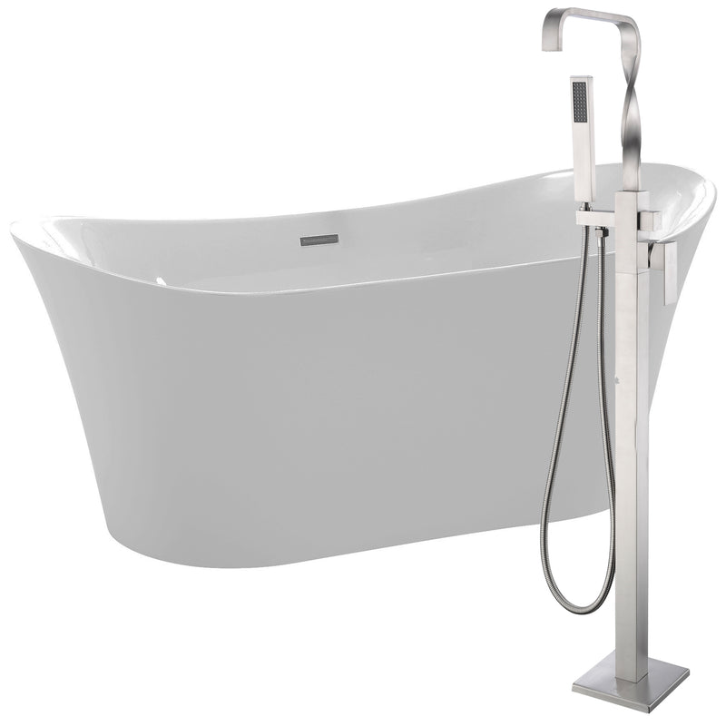 "Anzzi Eft 67"" Acrylic Flatbottom Non-Whirlpool Bathtub in White with Yosemite Faucet in Brushed Nickel"