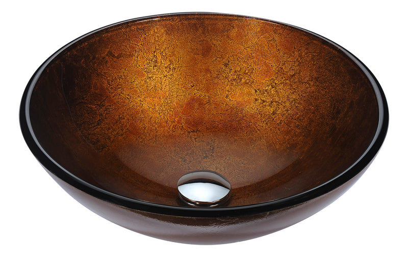 Anzzi Posh Series Deco-Glass Vessel Sink in Amber Gold