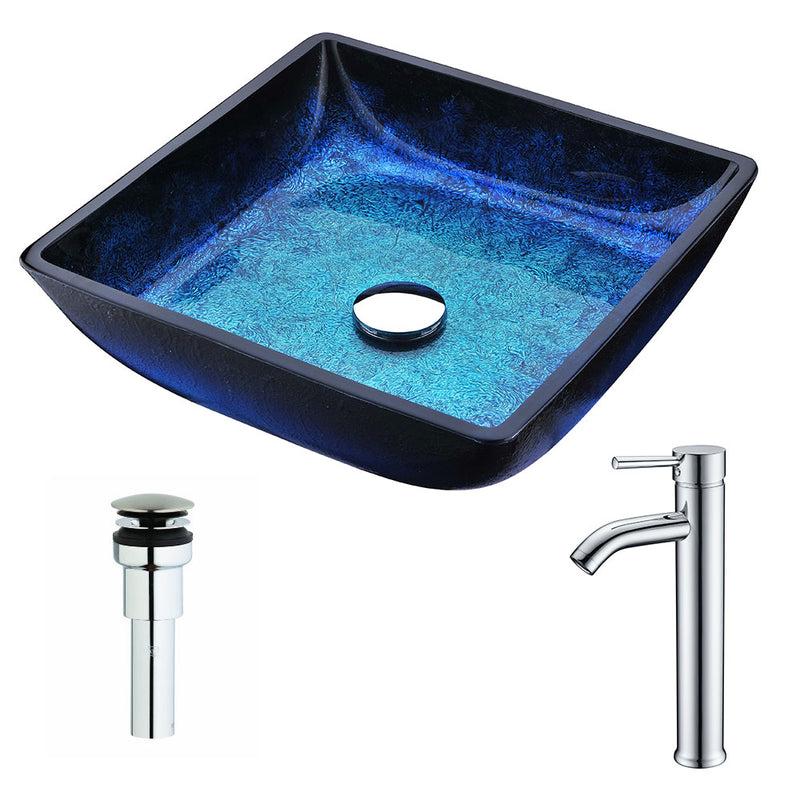Anzzi Viace Series Deco-Glass Vessel Sink in Blazing Blue with Fann Faucet in Chrome