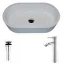 Anzzi Vaine Series 1-Piece Man Made Stone Vessel Sink in Matte White with Fann Faucet in Brushed Nickel