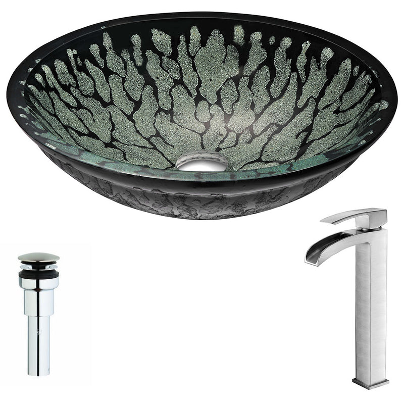 Anzzi Bravo Series Deco-Glass Vessel Sink in Lustrous Black with Key Faucet in Brushed Nickel