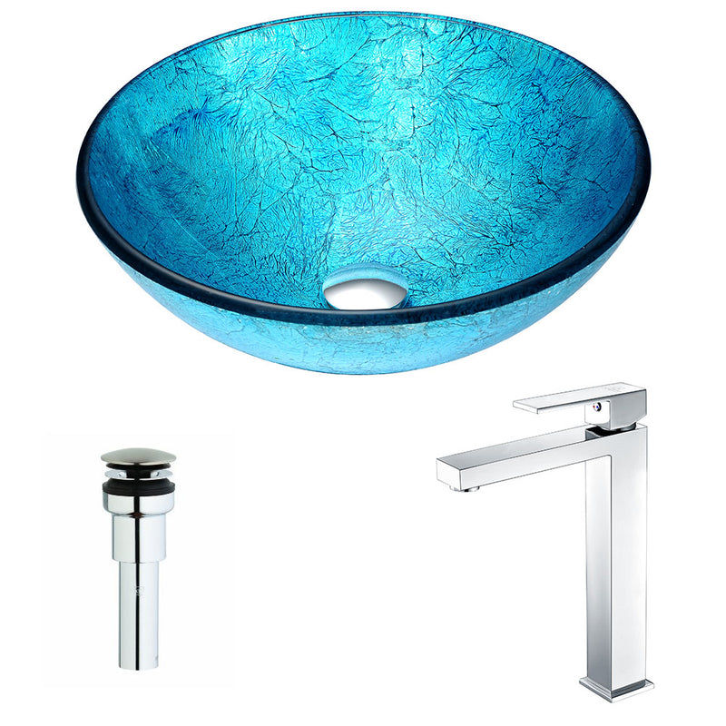 Anzzi Accent Series Deco-Glass Vessel Sink in Blue Ice with Enti Faucet in Chrome