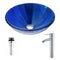 Anzzi Meno Series Deco-Glass Vessel Sink in Lustrous Blue with Fann Faucet in Chrome