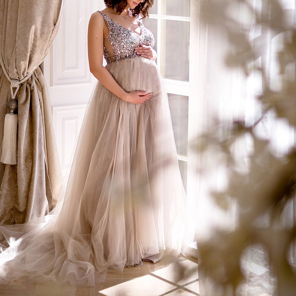 afd48bb21adf8 ... Maternity V-Neck Maxi Tulle Gown With Tonal Delicate Sequins ...