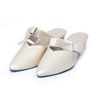 Formal ladies backopen shoes golden color SKU 037001