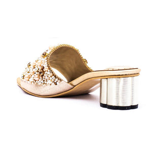 BRIDAL Slipper Golden Color Block Heel SKU: 045067