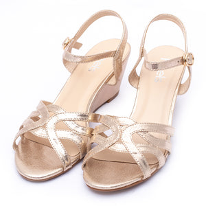 Fancy Sandals Golden Color Sku:055213
