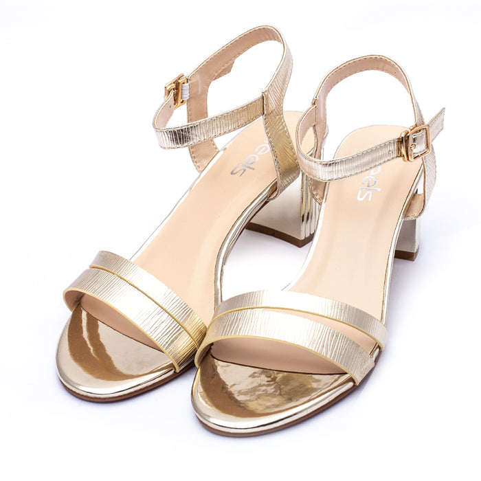 Fancy Sandals Golden Color Shinny all Sku:055217