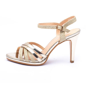 Fancy Sandals Golden Color Buckled Shinny topped Sku:055222