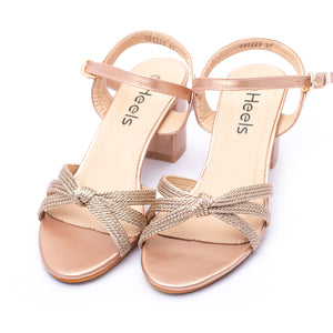 Fancy Sandals Champagne Color Nylon topped Sku:055223