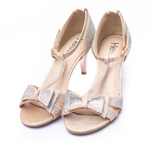 Fancy Sandals Golden Color Glittery Material with Tie Sku:066334