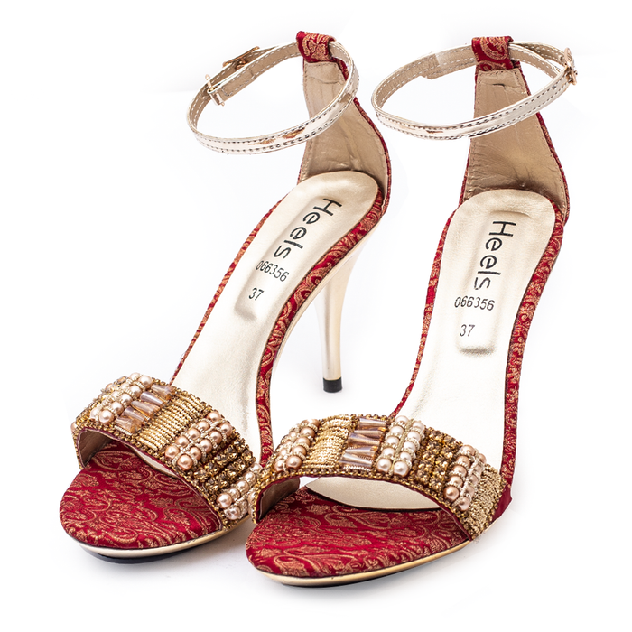 BRIDAL Sandal Red Color Metal Sole SKU: 066356