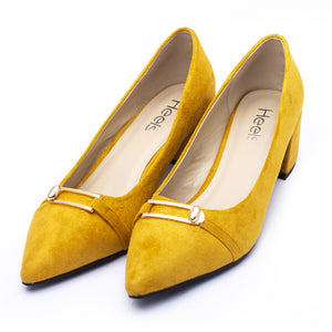 Formal ladies court shoes yellow color SKU 085301