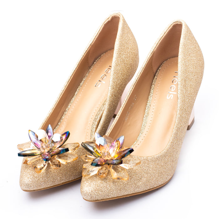 Fancy Court Shoes Golden Color Flower in Top Sku:085309