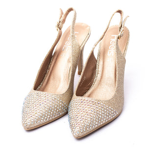 Fancy Court Shoes Champagne Color Stone Carved Sku:085328