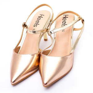Fancy Court Shoes Golden Color Shiny material Sku:085329