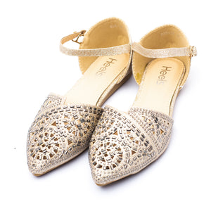 Fancy Ladies Pumps Golden Color Sku:090466
