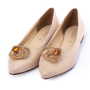 formal ladies pumps golden color SKU 091013