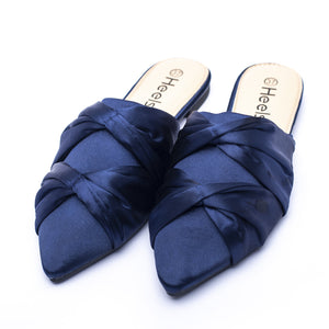 Formal ladies backopen shoes navy color SKU 095043