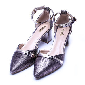 Fancy Ladies Court Shoes Gun Metallic Color Sku:085302