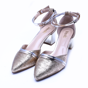 Fancy Ladies Court Shoes Light GOlden Color Sku:085302