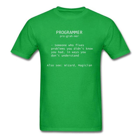 Programmer Definition Wizard Magician T Shirt Witchcraft Project Coder Deisgn Computer Engineer Tshirts Father's Dady Gift Tees