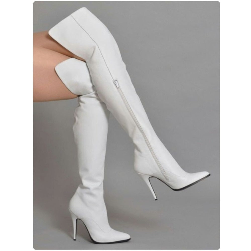 White Stretch Winter Thigh High Leather Boots_allurelane