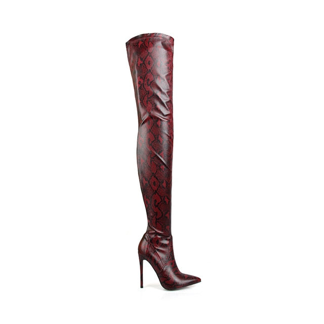 Thigh High Over The Knee Boots Snakeskin Pointed Toe_allurelane