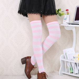 Striped Thigh High Stockings Over The Knee Socks_allurelane